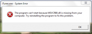 The program can't start because MSVCR80.dll is missing from your computer.  Try reinstalling the program to fix this problem.
