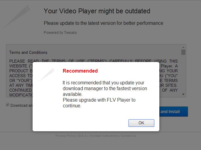 Upgrade Video Player Malware Add