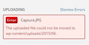 The uploaded file could not be moved  wordpress image upload