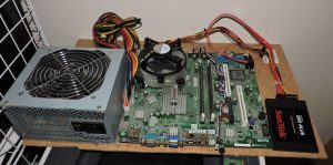 motherboard attached to board