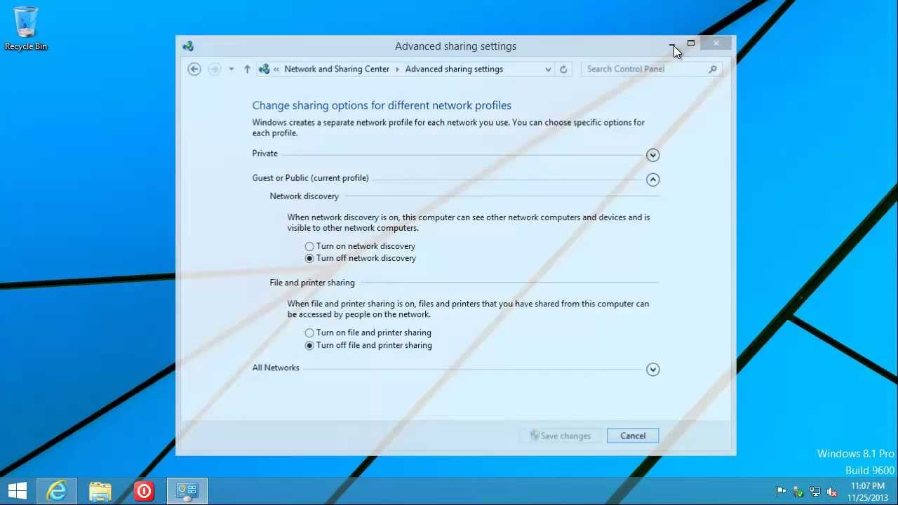 change network type windows 8